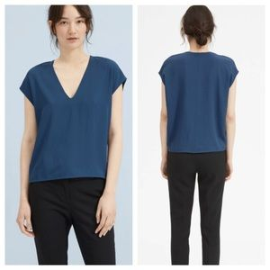 Everlane Japanese GoWeave V Neck Blue Shirt 6